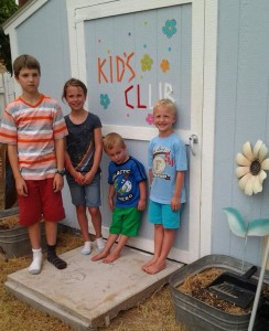 My kids at the Kids Club House